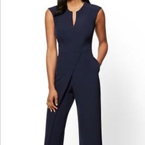 Navy Jumpsuit with Wrap Detail
